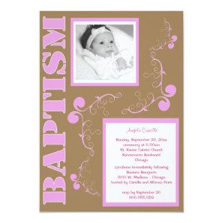 Trendy Roze Doopsel Paisley voor het Meisje van he Custom Uitnodging