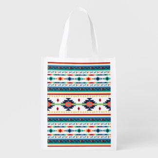 trendy stammen etnische geometrische patroon van herbruikbare boodschappentas