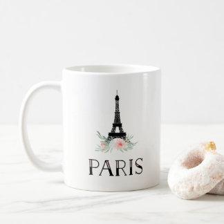 Trendy Toren van Eiffel en bloost Roze Bloemen | Koffiemok