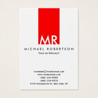 Trendy Witte Rode Schone Streep van het Monogram Visitekaartjes