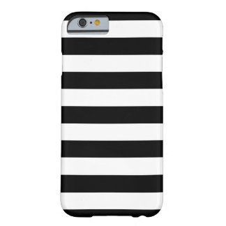 Trendy Zwart-witte Brede Horizontale Strepen Barely There iPhone 6 Hoesje