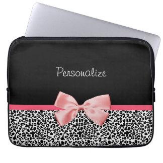 Trendy Zwart-witte Roze Lint van de Druk van de Lu Laptop Sleeve