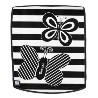 Trendy Zwart-witte Strepen van de Vlinder met Naam Rugtassen