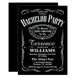 Trendy Zwarte & Witte Partij van de Vrijgezel van 12,7x17,8 Uitnodiging Kaart