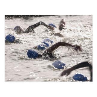 Triathletes die binnen zwemt been van triathlon. briefkaart