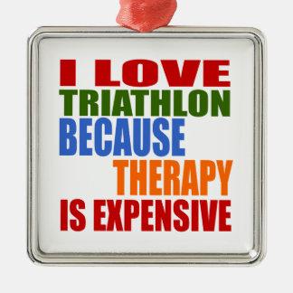 Triathlon is Mijn Therapie Zilverkleurig Vierkant Ornament