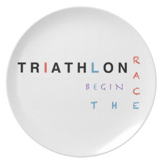 Triathlon liet het ras beginnen melamine+bord