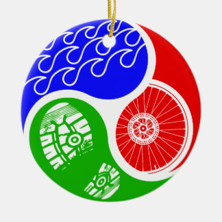 Triathlon TRIYin Yang Rond Keramisch Ornament