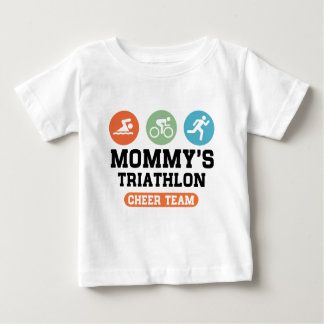 Triathlon van de mama juicht Team toe Baby T Shirts