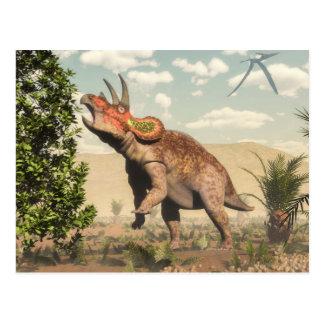 Triceratops die bij 3D magnoliaboom eten - geef Briefkaart