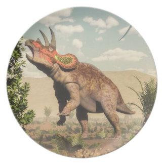 Triceratops die bij 3D magnoliaboom eten - geef Diner Bord
