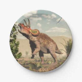 Triceratops die bij 3D magnoliaboom eten - geef Papieren Bordjes