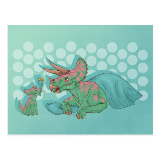 Triceratops die Bloemen geven Briefkaart