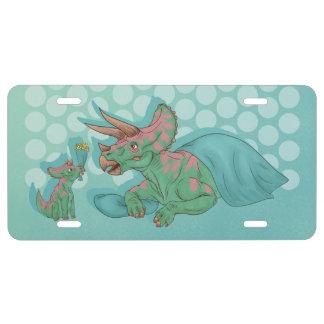 Triceratops die Bloemen geven Nummerplaat