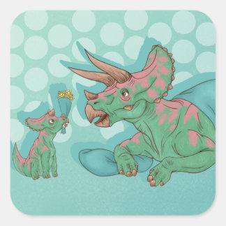 Triceratops die Bloemen geven Vierkante Sticker
