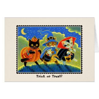 Trick or treat? De Kat Notecard van Halloween Kaart