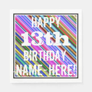 Trillende, Kleurrijke 13de Verjaardag + De Naam Papieren Servet