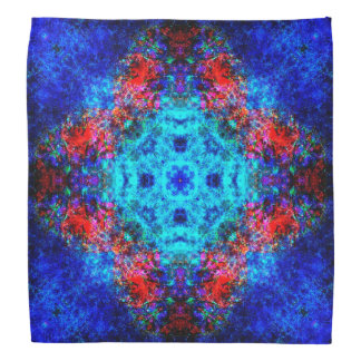 Trillende rode en blauwe mandala bandana