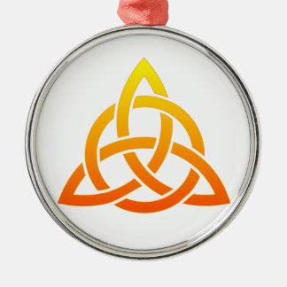 Triquetra/de Keltische Knoop van de Drievuldigheid Zilverkleurig Rond Ornament