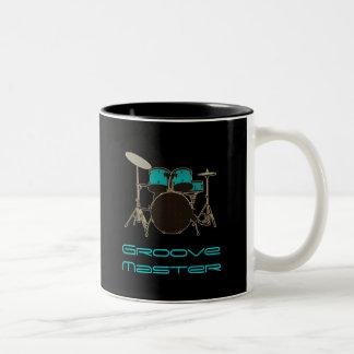 Trommels van de Slagwerker ~ van de groef de de Tweekleurige Koffiemok