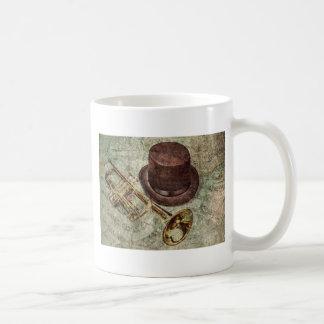 Trompet, hoge zijden en muzieknoten koffiemok