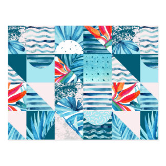 Tropisch Blauwgroen Geometrisch Abstract Patroon Briefkaart
