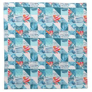 Tropisch Blauwgroen Geometrisch Abstract Patroon Servet