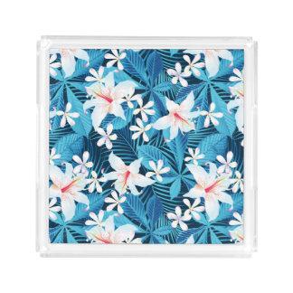 Tropisch BloemenPatroon 2 van de Hibiscus Acryl Dienblad