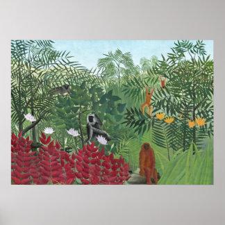 Tropisch Bos met Apen, 1910 (olie op canvas) Poster
