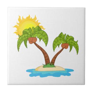 Tropisch Eiland met Twee Palmen Keramisch Tegeltje