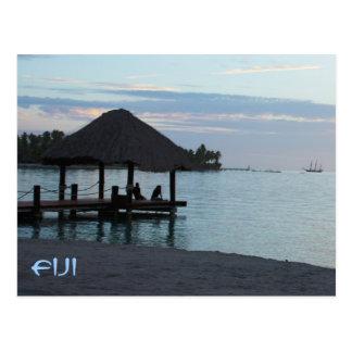 Tropisch Fiji Met stro bedekt Dak Gazebo Briefkaart