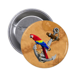 Tropisch Papegaai en Anker Ronde Button 5,7 Cm
