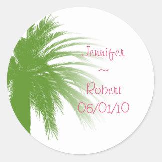 Tropisch Paradijs in Groen en Roze Ronde Sticker