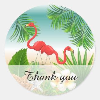 Tropisch Paradijs met Flamingo's Ronde Sticker
