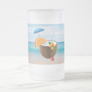 Tropisch Strand, Blauwe Hemel, OceaanZand, Matglas Bierpul