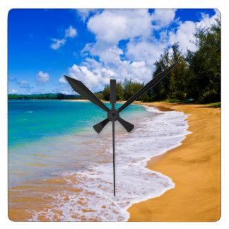 Tropisch strandparadijs, Hawaï Vierkante Klok
