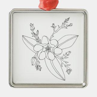 Tropisch Zilverkleurig Vierkant Ornament
