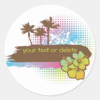 Tropische banner ronde sticker