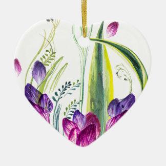 Tropische bladeren en bloemen voor uw huis keramisch hart ornament