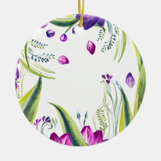 Tropische bladeren en bloemen voor uw huis rond keramisch ornament