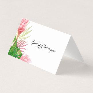 Tropische bladeren en bloemenplaatskaart kaart