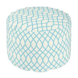 Tropische Blauwe Geometrisch Poef