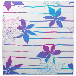 Tropische bloemen en strepen servet