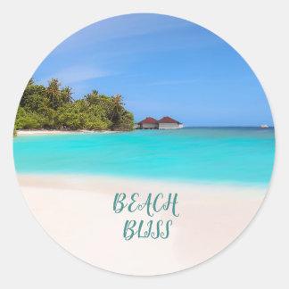 Tropische de Zaligheid van het strand Ronde Sticker