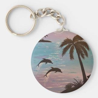 Tropische dolfijnen basic ronde button sleutelhanger