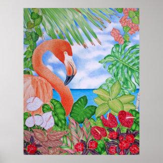 Tropische Flamingo Poster