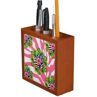 Tropische hibiscus en exotische roze gestreepte pennenhouder