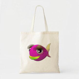 Tropische mooie roze meisjesvissen draagtas