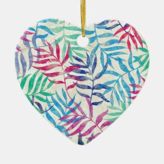 Tropische Palmbladen II van de waterverf Keramisch Hart Ornament