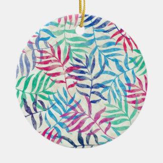 Tropische Palmbladen II van de waterverf Rond Keramisch Ornament